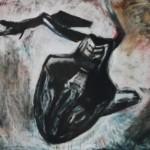 Pudotus, 94x120 cm,  öljy puulevylle 1999<br /> Falling, oil on wood