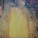 Keltaista valoa, 30x 40 cm, öljy ja mehiläisvaha 1996<br /> Yellow light, oil and bee wax on canvas
