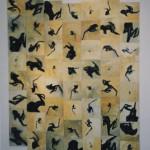 Sammakkotanssi  56 x 22x22 cm, akryyli kovalevylle + naru 1999<br /> Frogdance, acrylic color on wood