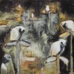 Pylväsvahdit, 120x 160cm, öljy ja mehiläisvaha, 2001<br />    Pilar watchmen, oil and bee wax