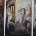 Tammikuun kuudestoista (triptyykki), 120X 160cm, akryyli, 2001<br />     January the 16th, acrylic