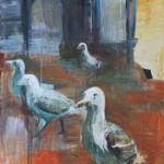 Kaduilla ja kujilla- sarjaa, 50x 61 cm, akryyli kankaalle, 2002<br />              Street series, acrylic on canvas