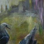 Kaduilla ja kujilla- sarjaa, 50 x 61 cm, akryyli kankaalle, 2002           Street series, acrylic on canvas