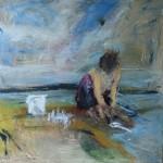 Kalanperkaaja II, 100 x 100 cm, akryyli kankaalle, 2006 <br />Cleaning fishes II, acrylic