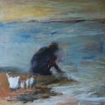 Kalanperkaaja III, 100 x 100 cm, akryyli kankaalle, 2006 <br />Cleaning fishes III, acrylic