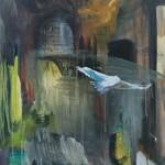 Kaduilla ja kujilla- sarjaa, 50 x 61 cm, akryyli kankaalle, 2002<br />     Street series, acrylic on canvas
