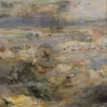 Ti 04.05.2010 Haahkoja Lillharunilla<br />       akvarelli/ guassi paperille, 57* 76cm<br />       Eiders in front of Lillharun, aquarelle and gouache on paper